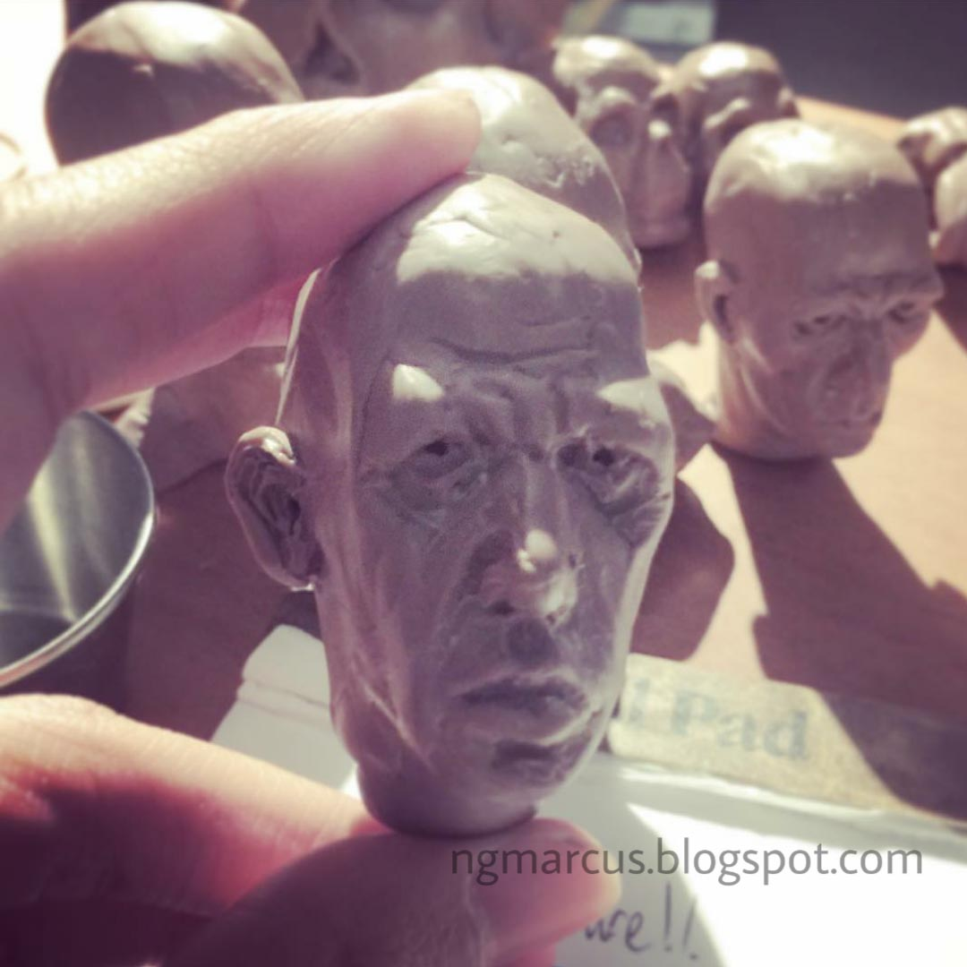 clay modelling human head
