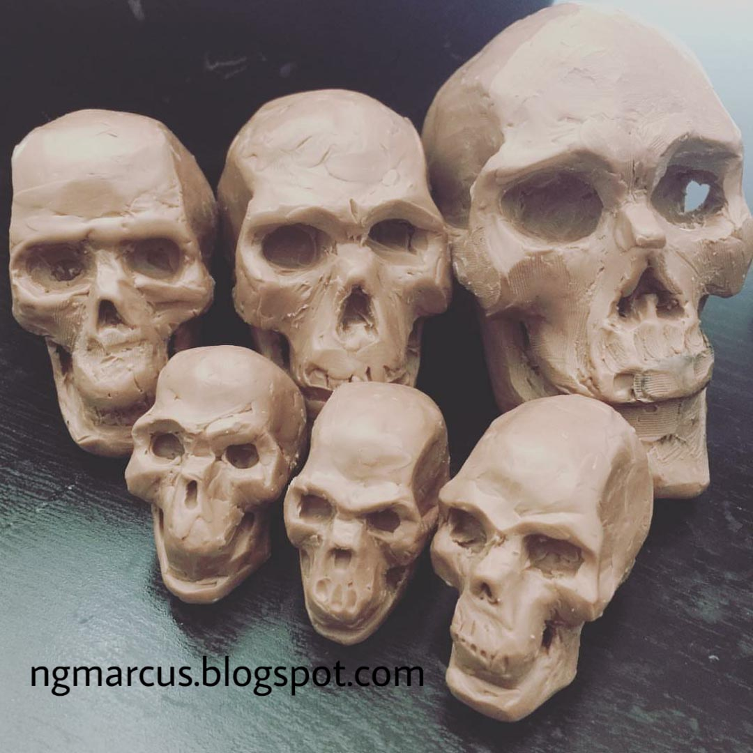 human skull clay sculpture